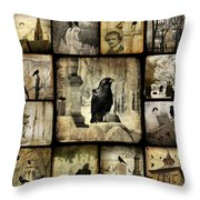 Gothic And Crows Throw Pillow