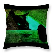 Gothic Black Cat Throw Pillow