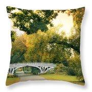 Gothic Bridge In Central Park Throw Pillow