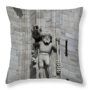 Gothic Cathedral Warrior Statue And Gargoyle Throw Pillow