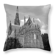 Gothic Church In Black And White Throw Pillow