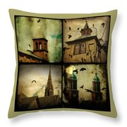 Gothic Churches And Crows Throw Pillow