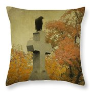 Gothic Fall Crow Throw Pillow
