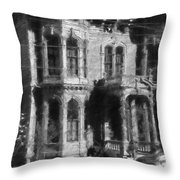 Gothic House Black And White Throw Pillow