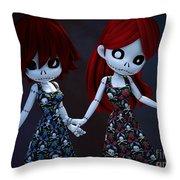 Gothic Rag Dolls Throw Pillow