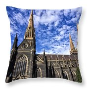 Gothic Revival Style St Patrick's Cathedral In Melbourne Throw Pillow