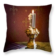 Gothic Scene With Candle And Gilt Edged Books Throw Pillow
