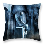 Gothic Surreal Angel In Mourning With Ravens Throw Pillow
