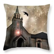 Gothic Surreal Haunted Church And Steeple With Crows And Ravens Flying  Throw Pillow