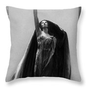 Gothic Surreal Haunting Female Cemetery Mourner Figure Black Caped Woman In Front Of Gravestone Throw Pillow