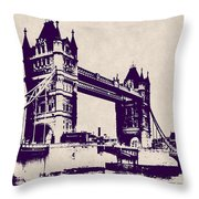 Gothic Victorian Tower Bridge - London Throw Pillow