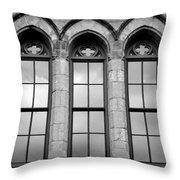 Gothic Windows - Black And White Throw Pillow