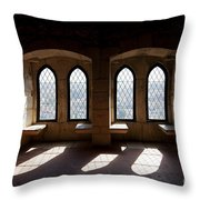 Gothic Windows Of The Royal Residence In The Leiria Castle Throw Pillow