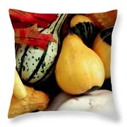 Gourd Group Of Fall's Bounty Throw Pillow