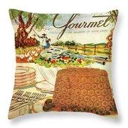 Gourmet Cover Featuring A Buffet Farm Scene Throw Pillow