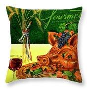 Gourmet Cover Featuring A Pig's Head On A Platter Throw Pillow