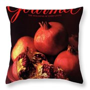 Gourmet Cover Featuring A Plate Of Pomegranates Throw Pillow