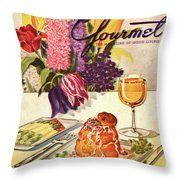 Gourmet Cover Featuring Sweetbread And Asparagus Throw Pillow