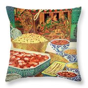Gourmet Cover Featuring Various Indian Dishes Throw Pillow