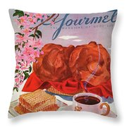 Gourmet Cover Illustration Of A Basket Of Popovers Throw Pillow