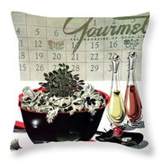 Gourmet Cover Illustration Of A Bowl Of Salad Throw Pillow