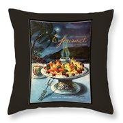 Gourmet Cover Illustration Of Fruit Dish Throw Pillow