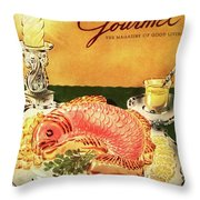 Gourmet Cover Illustration Of Salmon Mousse Throw Pillow