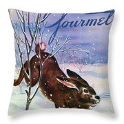 Gourmet Cover Of A Rabbit On Snow Throw Pillow