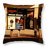Gourmet Deli And Pizza - New York City Street Scene Throw Pillow