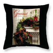 Gourmet Magazine Cover Featuring Christmas Garland Throw Pillow