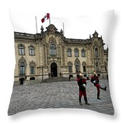 Government Palace Guards In Lima Throw Pillow