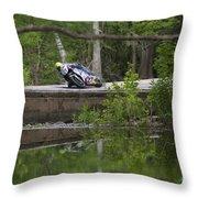 Superbike On Creek Bridge Throw Pillow