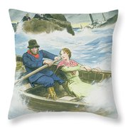 Grace Darling And Her Father Rescuing Throw Pillow