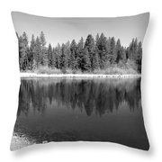 Grace Lake Reflections In Black And White Throw Pillow