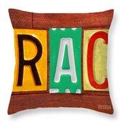 Grace License Plate Name Sign Fun Kid Room Decor. Throw Pillow