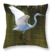 Graceful Great Egret Flying Throw Pillow