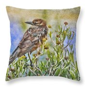 Grackle In Flowers Throw Pillow