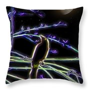 Grackle In The Willow Tree Throw Pillow