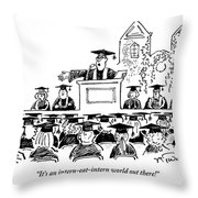 Graduation Speaker Addressing Graduates Seated Throw Pillow