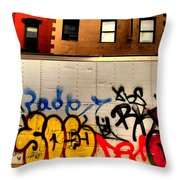 Graffit With Taxi Throw Pillow