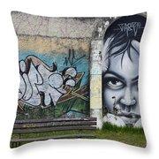 Graffiti Art Curitiba Brazil 1 Throw Pillow by Bob Christopher