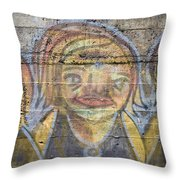 Graffiti Covered Cement Wall Throw Pillow