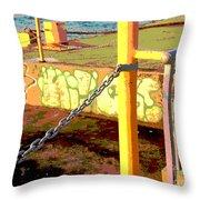 Graffiti Dock Throw Pillow