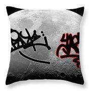 Graffiti On The Moon Throw Pillow