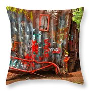 Graffiti On The Wreckage Throw Pillow