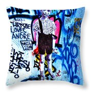 Graffiti Rendition Of Diane Arbus's Photo - Child With Toy Hand Grenade In Central Park Throw Pillow