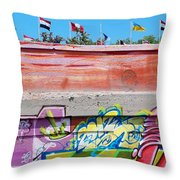 Graffiti With Flags Throw Pillow