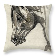Grafik Polish Arabian Horse Ink Drawing Throw Pillow