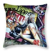 Grafitti Art Florianopolis Brazil 1 Throw Pillow