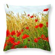 Grain And Poppy Field Throw Pillow